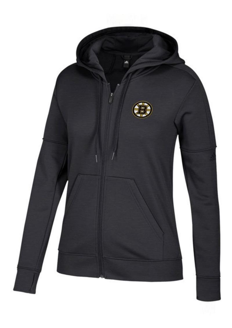 adidas Women's Boston Bruins Logo Stitched Full-Zip Hooded Sweatshirt
