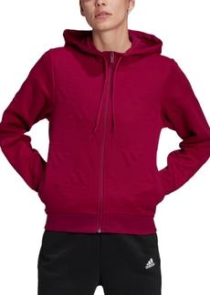 adidas Women's Jacquard-Logo Aeroready Zip Hoodie