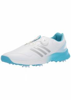 adidas Womens Response Bounce BOA Golf Shoe FTWR White/Silver Metallic/Bright Cyan  M US
