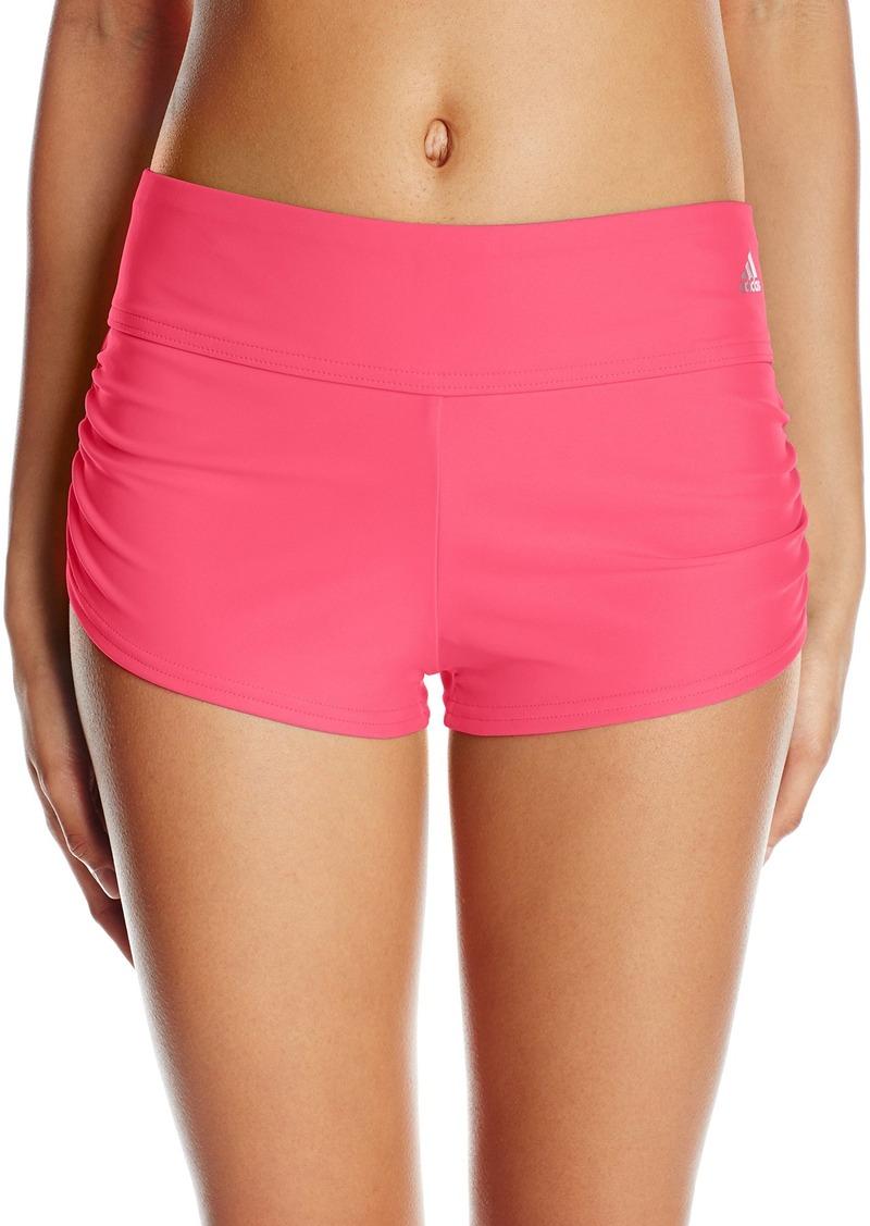 c690655cfb85f adidas Women's Solid Shirred Sporty Short Swimsuit Bikini Bottom XL