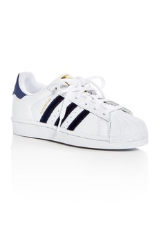 Adidas Women's Superstar Leather & Velvet Lace Up Sneakers
