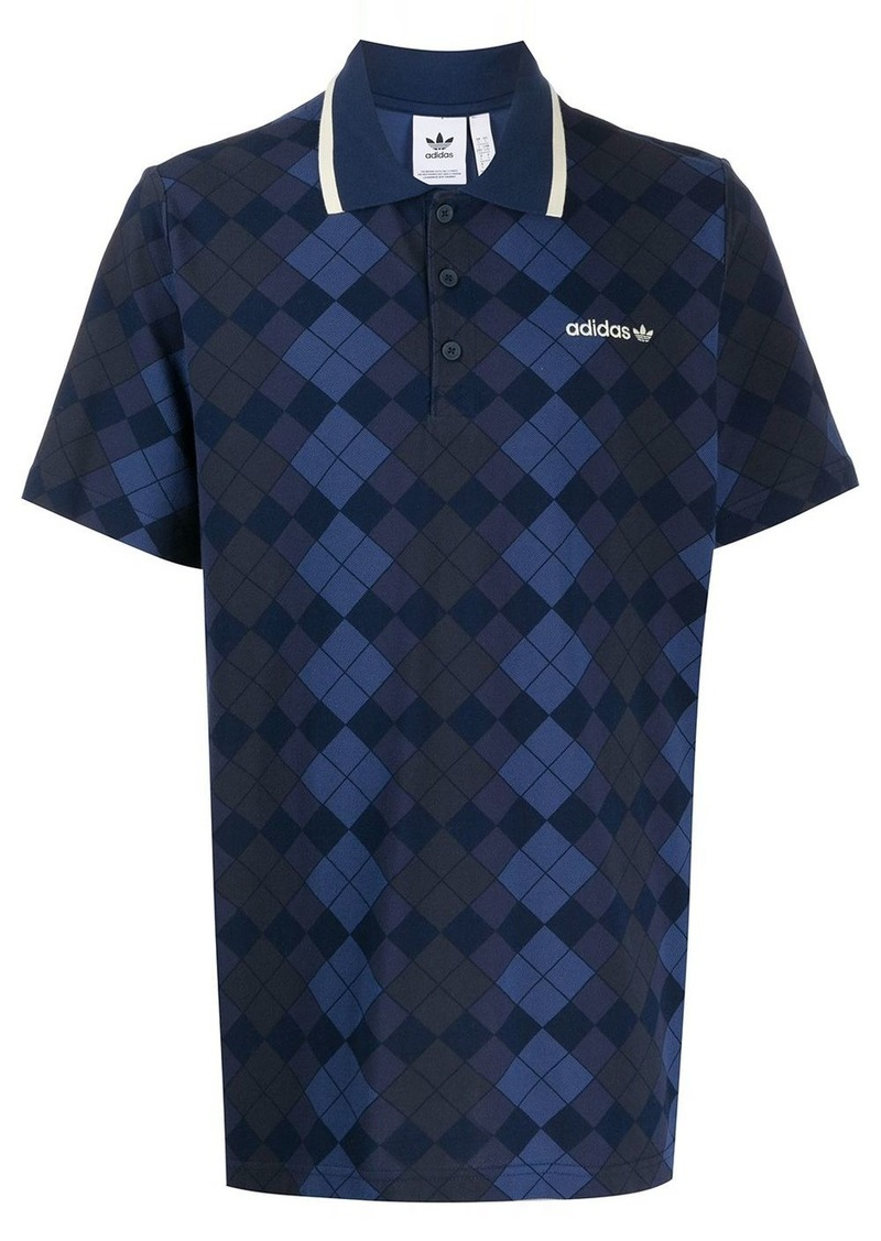 Adidas argyle pattern polo shirt