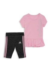 Adidas Baby Girl's 2-Piece Peplum Top & Capri Tight Set