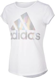 adidas Big Girls Short Sleeve Aeroready Rainbow Logo Foil T-shirt
