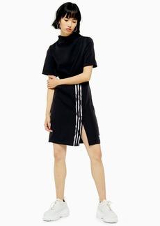 Black Dc High Neck Three Stripe Dress By Adidas