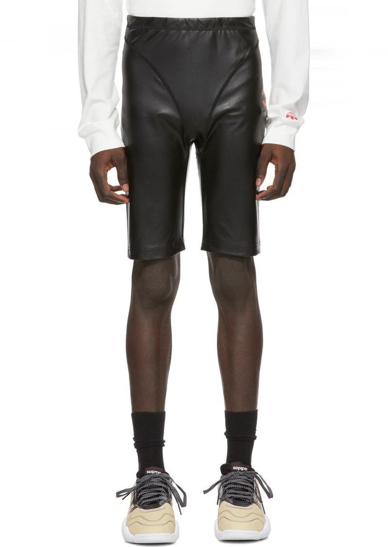 Adidas Black Faux-Leather Shorts