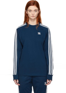 Adidas Blue 3-Stripes Long Sleeve T-Shirt