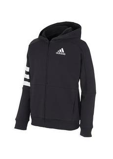 Adidas Boy's Zip Front 3-Stripe Hooded Jacket