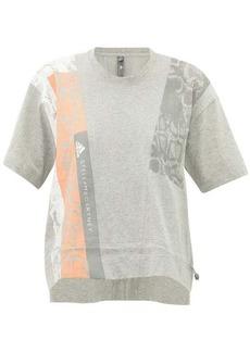 Adidas By Stella McCartney Cropped snake-print cotton-jersey T-shirt