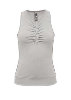 Adidas By Stella McCartney Ruched V-neck mesh-back tank top