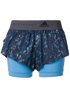 Adidas By Stella Mccartney running 2-in-1 shorts - Blue