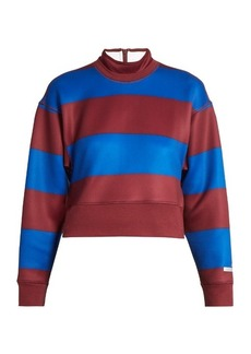 Adidas By Stella McCartney Striped scuba-jersey performance sweatshirt