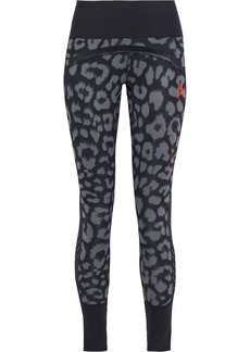Adidas By Stella Mccartney Woman Believe This Comfort Mesh-trimmed Leopard-print Climalite Leggings Animal Print