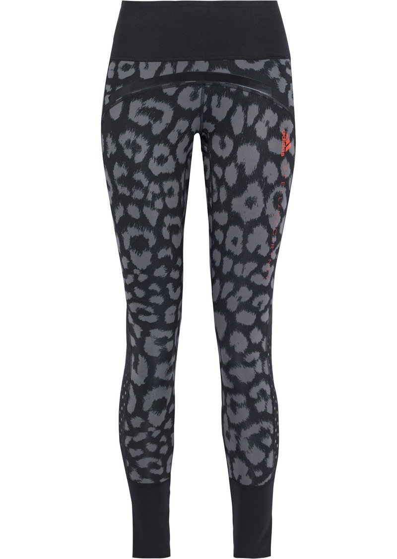Adidas By Stella Mccartney Woman Believe This Comfort Mesh-trimmed Leopard-print Climalite Leggings Animal Print