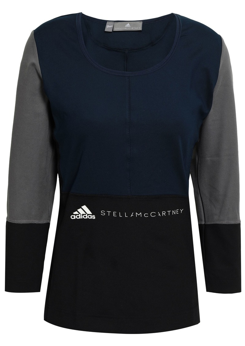 Adidas By Stella Mccartney Woman Color-block Stretch Top Midnight Blue