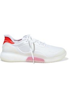 Adidas By Stella Mccartney Woman Court Boost Rubber-trimmed Neoprene Sneakers White