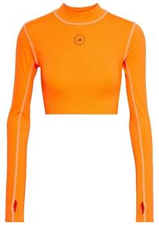 Adidas By Stella Mccartney Woman Cropped Cutout Printed Stretch Top Orange