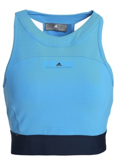 Adidas By Stella Mccartney Woman Cropped Cutout Stretch Top Light Blue