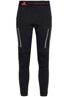 Adidas By Stella Mccartney Woman Cropped Mesh-paneled Stretch Leggings Black