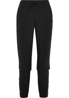 Adidas By Stella Mccartney Woman Cropped Mesh-trimmed Shell And Jersey Track Pants Black