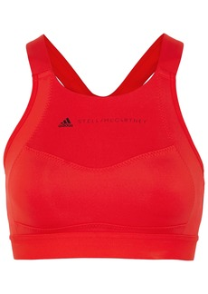 Adidas By Stella Mccartney Woman Essential Climalite Mesh-trimmed Stretch Sports Bra Tomato Red