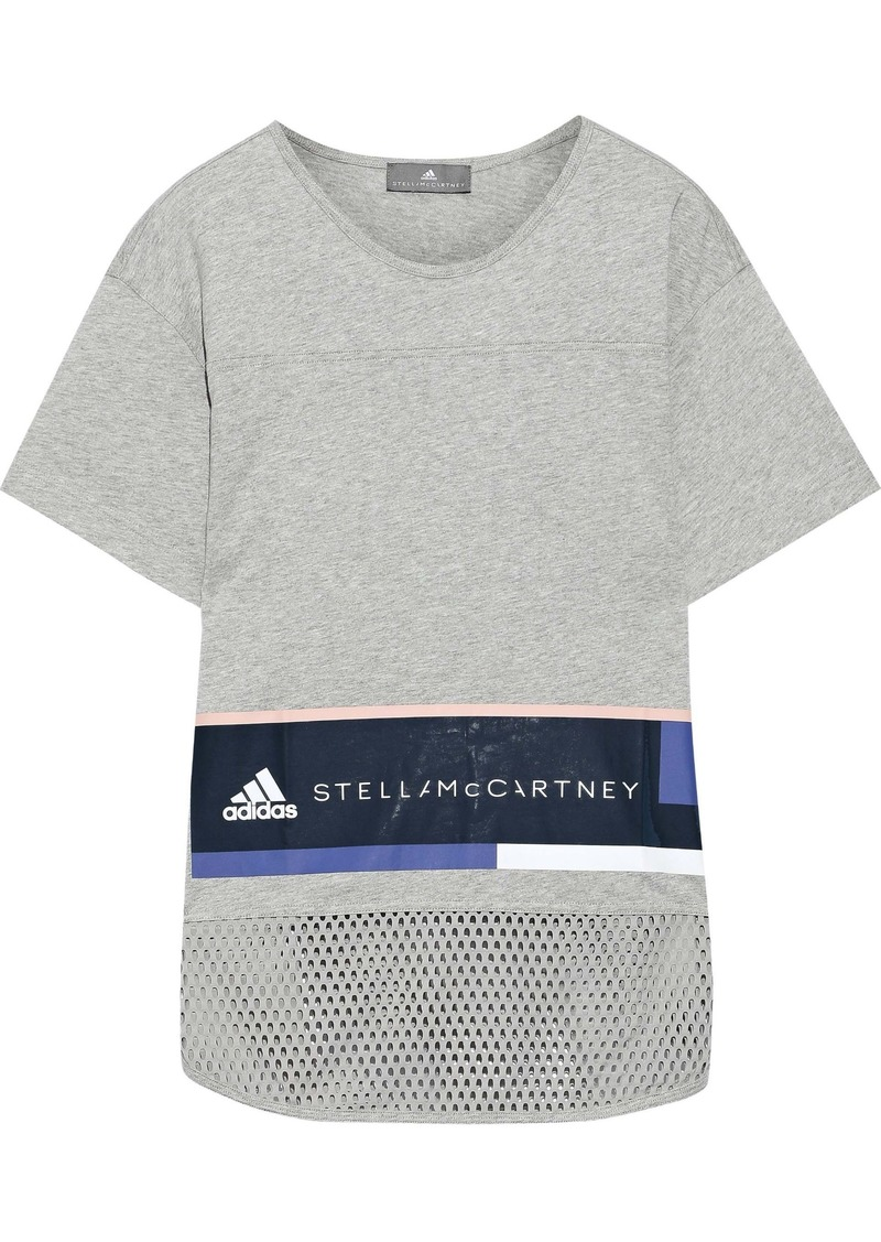 Adidas By Stella Mccartney Woman Essentials Mesh-paneled Logo-print Cotton-jersey T-shirt Light Gray