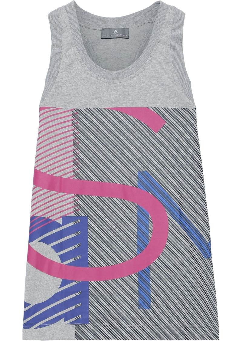 Adidas By Stella Mccartney Woman Essentials Mesh-paneled Printed Cotton-jersey Tank Light Gray