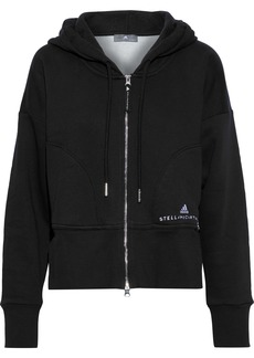 Adidas By Stella Mccartney Woman Essentials Two-tone Cotton-blend Fleece Hoodie Black