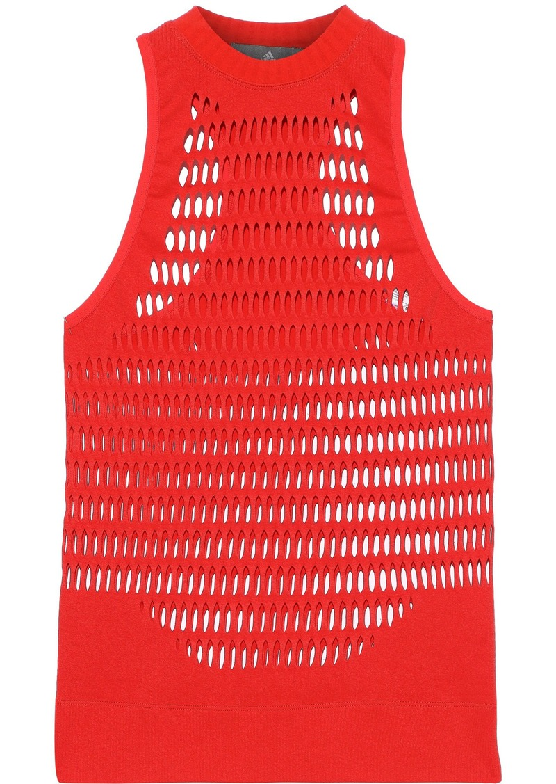 Adidas By Stella Mccartney Woman Laser-cut Stretch Tank Tomato Red