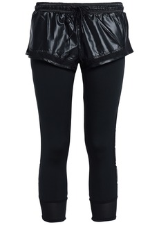 Adidas By Stella Mccartney Woman Layered Shell And Stretch Leggings Black