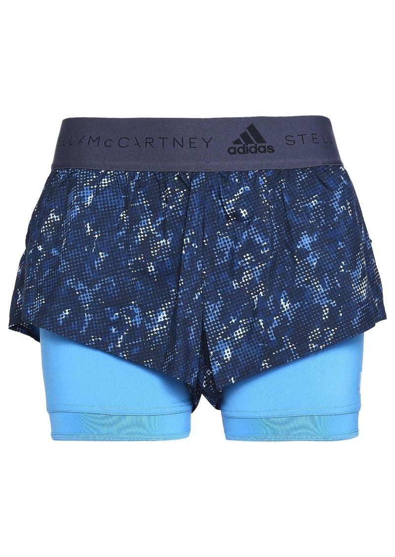 Adidas By Stella Mccartney Woman Layered Stretch-jersey And Printed Shell Shorts Blue