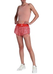 Adidas By Stella Mccartney Woman Layered Stretch-jersey And Printed Shell Shorts Red