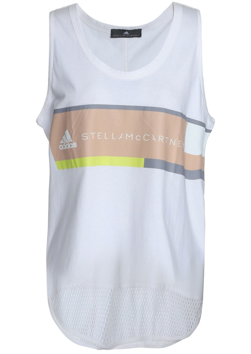 Adidas By Stella Mccartney Woman Mesh-paneled Cotton-jersey Tank White