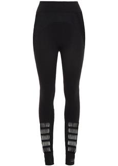 Adidas By Stella Mccartney Woman Mesh-paneled Laser-cut Stretch Leggings Black