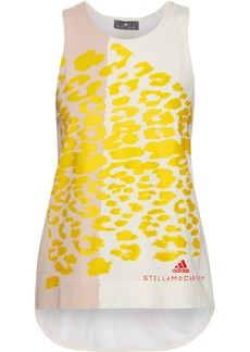 Adidas By Stella Mccartney Woman Mesh-paneled Printed Cotton-jersey Tank White