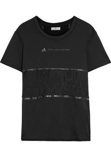 Adidas By Stella Mccartney Woman Mesh-paneled Printed Jersey T-shirt Black