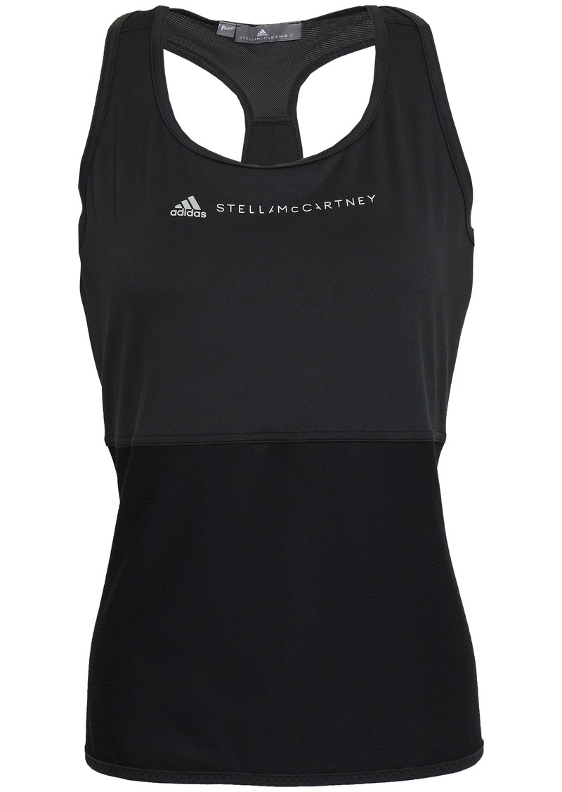 Adidas By Stella Mccartney Woman Mesh-paneled Printed Stretch Tank Black