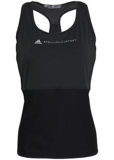 Adidas By Stella Mccartney Woman Mesh-paneled Printed Stretch Tank Black