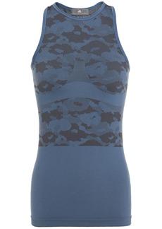Adidas By Stella Mccartney Woman Mesh-paneled Stretch-jacquard Tank Storm Blue