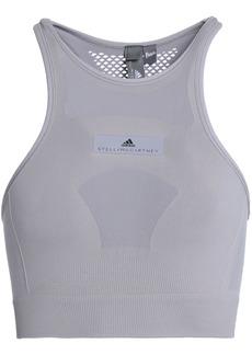 Adidas By Stella Mccartney Woman Mesh-paneled Stretch-jersey Sports Bra Light Gray