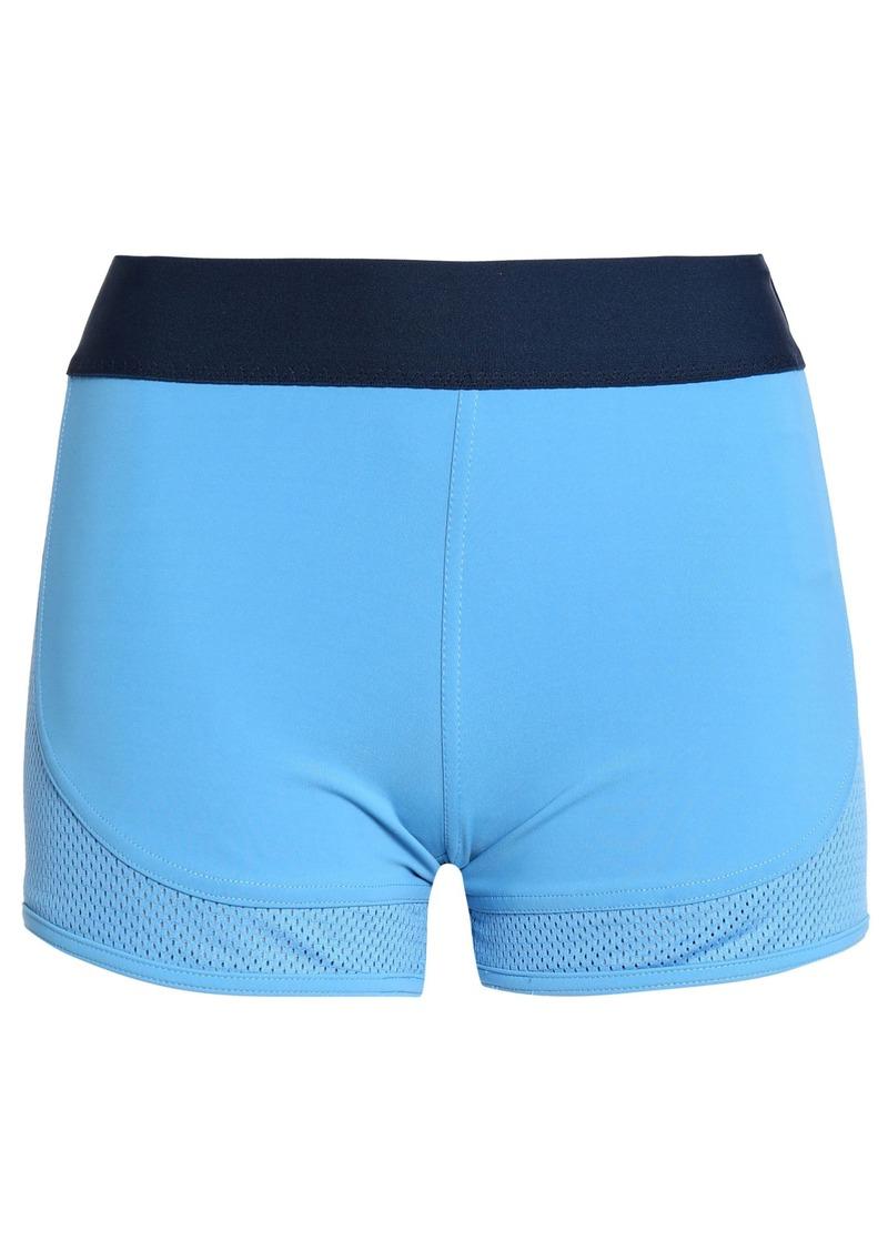 Adidas By Stella Mccartney Woman Mesh-paneled Stretch Shorts Light Blue