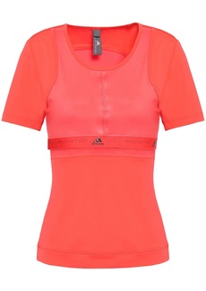 Adidas By Stella Mccartney Woman Mesh-trimmed Coated Stretch T-shirt Coral