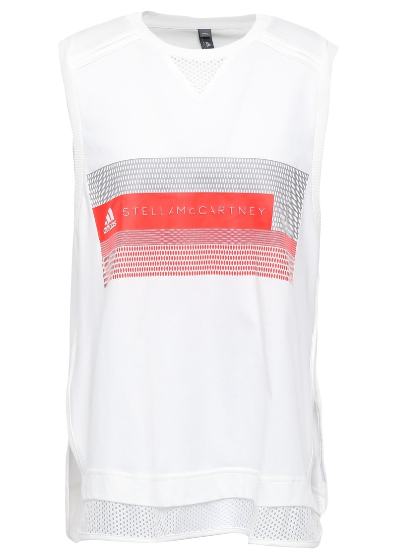 Adidas By Stella Mccartney Woman Mesh-trimmed Printed Cotton-jersey Tank White
