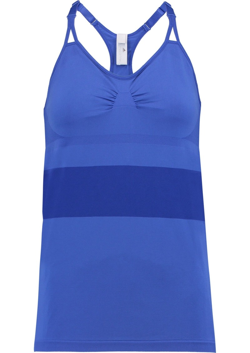 Adidas By Stella Mccartney Woman Mesh-trimmed Stretch Tank Bright Blue