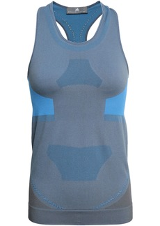Adidas By Stella Mccartney Woman Mesh-trimmed Two-tone Stretch Tank Gray