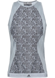 Adidas By Stella Mccartney Woman Paneled Stretch-jacquard And Snake-print Tech-jersey Tank Stone