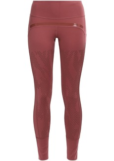 Adidas By Stella Mccartney Woman Perforated Coated Stretch Leggings Antique Rose