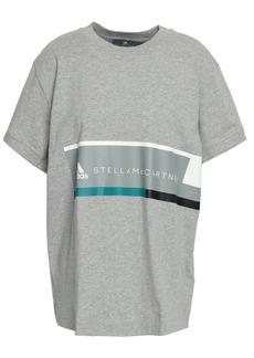 Adidas By Stella Mccartney Woman Printed Mélange Cotton-jersey T-shirt Light Gray
