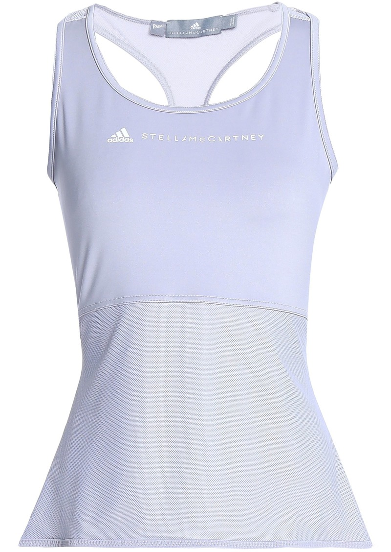 Adidas By Stella Mccartney Woman Printed Stretch-jersey And Mesh Tank Gray
