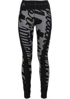 Adidas By Stella Mccartney Woman Printed Tech-jersey Leggings Black